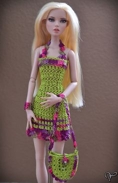 Crocheted sundress and accessories for 16 от CrochetDollsOutfits