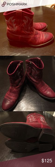 Red Ariat Bootie Cowboy Boots Beautiful deep red Ariat boots cowboy boots. Worn once and sadly are too small for me. In perfect condition. Ariat Shoes Ankle Boots & Booties