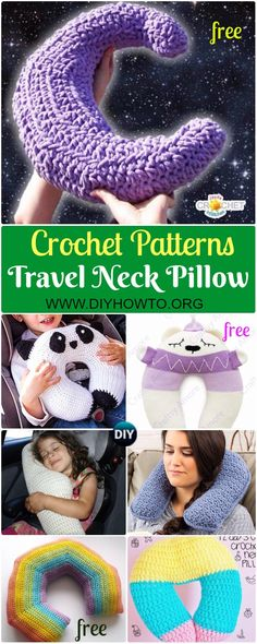 Collection of Crochet Travel Neck Pillow Patterns & Tutorials: Crochet Animal Neck Pillow, Moon Travel Pillow, Rainbow, Seatbelt, Cat and More Pillow Tutorials