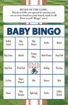 Baby Shower Bingo Game BASEBALL Theme _Instant Digital Download_set of 40_Custom available