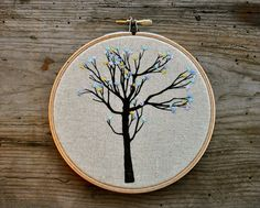 Swelling Buds VI - embroidery hanging wall hoop art