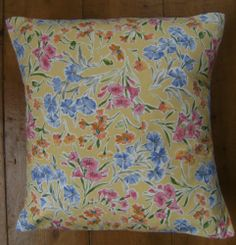Laura Ashley Vintage Floral Yellow Fabric Design Scatter Cushion Cover