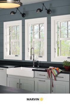 Farmhouse Style Kitchen, Kitchen Sink Window, Double Hung, Farmhouse Design, Glass Decor, Colorful Interiors, Kitchen Window, Brick Molding, Wood Interiors