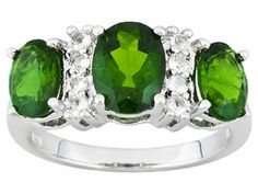3.02ctw Oval Russian Chrome Diopside And .24ctw Round White Topaz Sterling Silver Ring Eav $121.00