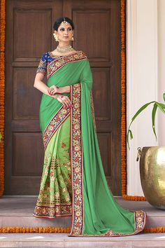 Green Color Faux Georgette Fabric Saree