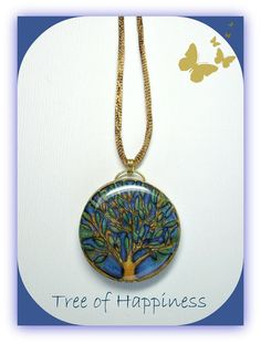 Tree of Life Ocean Blue Statement necklace polymer by BeadazzleMe, $20.00