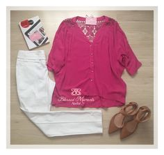 Camisa Rosa Pink + Calça Alfaiataria Branca - Look trabalho - Moda Executiva - office outfit