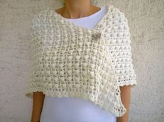 Crochet Ivory Wedding Shawl Cream Sparkling Shrug Bridal Bridesmaid  Shawl Made to order. $75,00, via Etsy.