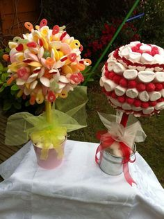 Sweet trees - maybe? Candy Topiary, Candy Trees, Candy Flowers, Chocolate Wedding Favors, Chocolate Bouquet, Chocolate Treats, Edible Centerpieces, Edible Arrangements, Gift Bouquet