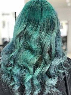 Mermaid sea green teal hairs 2019 Teal Hair, Green Hair, Ombre Hair, Dip Dye Hair, Dyed Hair, Trendy Hair, Hair Colors, Big Kids, Hair Goals