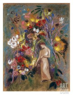 Woman in Flowers, 1904 Art Print by Odilon Redon at Art.com