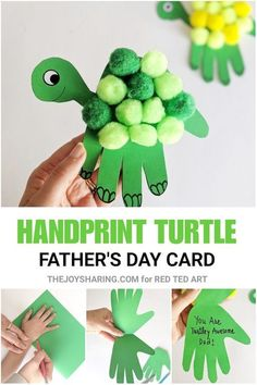 Turtle Handprint Father's Day Card - how cute is thise handprint Father's Day craft for preschoolers? kids crafts preschool Turtle Handprint Father's Day Card - Red Ted Art - Make crafting with kids easy & fun Baby Crafts, Fun Crafts, Diy And Crafts, Creative Crafts, Crafts For Babies, Hand Crafts For Kids, Easy Toddler Crafts, Ocean Crafts, Adult Crafts