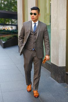cbddd2b81b2 Leo Chan of Levitate Style brings some suited heat to the street in our  olive green multi-check slim suit separates.