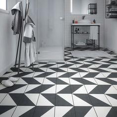 Carrelage sol et mur noir blanc effet ciment Dément l.20 x L.20 cm