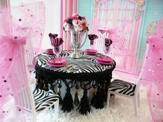 OOAK Barbie Monster High Dining Room House Furniture Diorama Lot Flowers Dishes | eBay