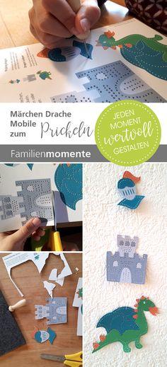 Lieblich Märchen Mobile Mit Drachen, Ritterburg Zum Prickeln   Bastelbogen    Prickelvorlage