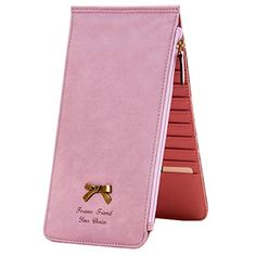 ULiKEE® Polished PU Leather Wallet Purse For Women Men Boy Girl (Bowknot& 22 Card Slot Pink)