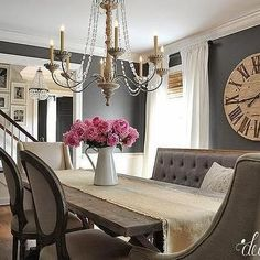 I would keep the bench and one of the other chairs...Dark Gray Dining Room Paint Colors, French, Dining Room, Benjamin Moore Kendall Charcoal #diningroomfurniture