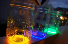 Cut open a non-toxic glow stick, empty the contents into a mason jar (or similar), close it and shake. / #DIY