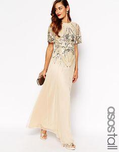 ASOS TALL RED CARPET Sparkle Embellished Mesh Maxi Dress - Cream £75.00 AT vintagedancer.com