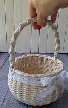 Wedding wicker baskets set for Flower Girl Basket White | Etsy