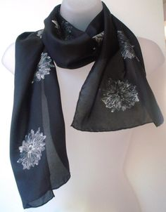Black and White Silk Scarf  hand painted daisies by JasmineVelvet