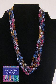 Ribbon Necklace Gemstones by ShopOfftheHook on Etsy, $20.00