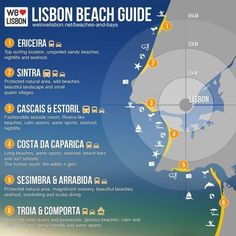 Check this guide for relevant information on the main beach areas around Lisbon - Portugal. Check this guide for relevant information on the main beach areas around Lisbon - Portugal. Belem Portugal, Ericeira Portugal, Braga Portugal, Visit Portugal, Spain And Portugal, Portugal Travel, Spain Travel, Portugal Trip, Portugal Vacation