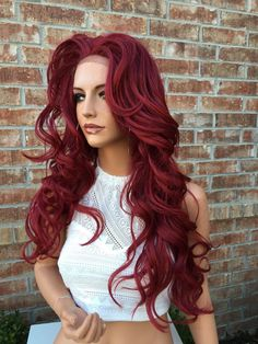 Fiery Red Curly Human Hair Blend Lace Wig 24 by NikkiBellaHair