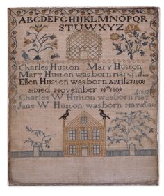 Mary Huston - Bellefonte, Pennsylvania - circa 1818. Family record. silk on linen