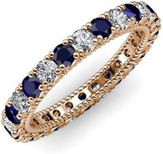 Your Personal Ejeweler...This stunning Eternity Band is Ornamented with striking U-Prong set Blue Sapphire and Diamond with rope like milgrain embellished all the way around the shank. #Trijewels #Ejeweler #Eternity #Diamond #Sapphire #EternityRing #WeddingBand #EternityBand #Ring #WomensRing #Gift #Love #Wedding #Engagement #Womenjewelry #JewelryBuyers #AnniversaryRing #Wedding #YellowGold #WhiteGold #RoseGold #StackableRing #Gold #Stackable Wedding Engagement, Wedding Bands, Prong Set, Eternity Bands, Anniversary Rings, Shank, Blue Sapphire, White Gold, Women Jewelry