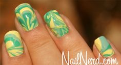 China Glaze: For Audrey, Four Leaf Clover, Lemon Fizz. Marbling :)