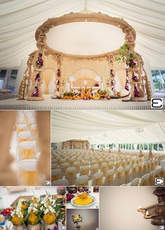 Beautiful wooden 4-pillar circular Wedding Mandap in light brown, covered in greenery and flowers, set in a marquee, with sunshine flooding in.