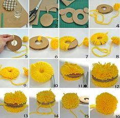 How to make a pom pom ball with a cardboard circle Diy Crafts To Do, Diy Arts And Crafts, Home Crafts, Kids Crafts, Preschool Crafts, Pom Pom Crafts, Yarn Crafts, Easter Crafts, Christmas Crafts