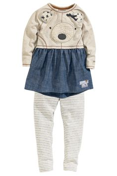 Buy Bear Face Tunic And Striped Legging Set from the Next UK online shop Next Girls Clothes, Girls Fashion Clothes, Girl Outfits, Fashion Outfits, Babies Clothes, Bear Face, Striped Leggings, Outfit Sets, My Girl