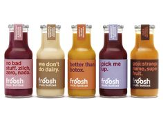 In creating the package redesign for Scandinavian smoothie company Froosh, the people at Pearlfisher were tasked with solving the 'smoothie confusion' in the Nordic regions to communicate pure fruit. Juice Branding, Juice Packaging, Coffee Packaging, Beverage Packaging, Bottle Packaging, Brand Packaging, Product Packaging, Bottle Labels, Coffee Labels