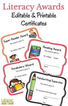 Printable awards for reading and writing that you can edit. Perfect for anytime of the year but especially our award ceremony or graduation.