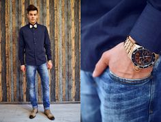 Invicta Watch, Guess? Guess Shirt, Zara Jeans, Why Denis Shoes