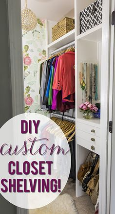 How to build custom closet shelves Completely DIY closet on a budget! Closet Shelves, Closet Storage, Closet Organization, Wardrobe Storage, Master Closet, Closet Bedroom, Closet Redo, Closet Remodel, Master Bedroom