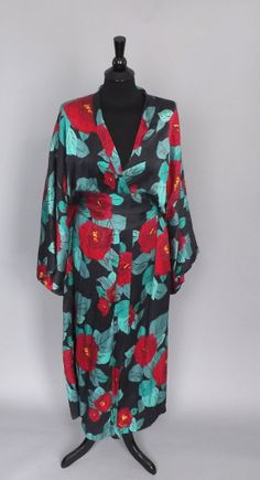 Madama Butterfly Vintage Long Black Red Rose Floral Silk Batwing Kimono Robe Lingerie Pin Up Girl Boudoir Wrap Dress Boho Parisian Wrapper