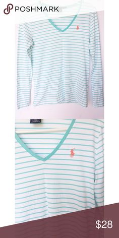 🐎Ralph Lauren Sport long sleeve🐎 Gorgeous long sleeve tee in Aqua and white. Perfect for layering or wearing alone. Tops Tees - Long Sleeve