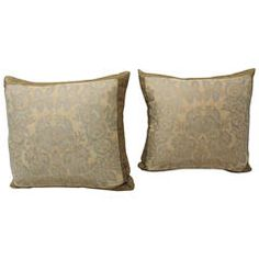Pair of Silver and Peach Fortuny Pillows