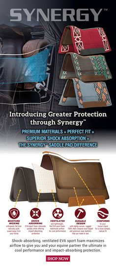 Premium materials + perfect fit + superior shock absorption = the Synergy™ saddle pad difference! Western Saddle Pads, Western Horse Saddles, Western Riding, Majestic Animals, Animal Projects, Barrel Racing, Horse Care, Donkeys, Horse Stuff