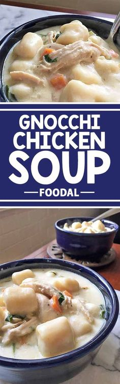 Nothing beats a warm bowl of chicken and dumplings – with an Italian twist! So if you're on the hunt for a comforting and hearty soup, try out our own thick and creamy version. You'll fall in love with the rich base and homemade gnocchi. Chicken Gnocchi, Gnocchi Soup, Gnocchi Recipes, Chicken And Dumplings, Chicken Soup, Endive Recipes, Dumplings For Soup, Radish Recipes, Chicken Spaghetti
