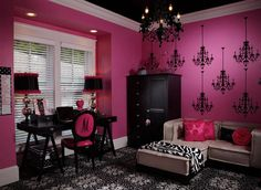 Girls Bedroom Zebra mias pink & zebra room, i wanted an over the top pink & zebra room