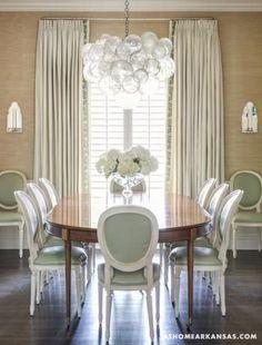 grasscloth wallpaper + bubble chandelier
