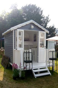 Brilliant idea for a small Guest House...or playhouse/sleepover house for the girls! And if it's smaller than 10x12 you don't need a building permit!
