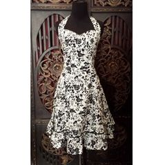 Black And White Floral Petticoat Pin Up Cocktail Dress