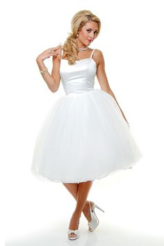 One Plus Tutu White Tulle Wedding Dress With Satin Bodice - Unique Vintage - Homecoming Dresses, Pinup & Prom Dresses.