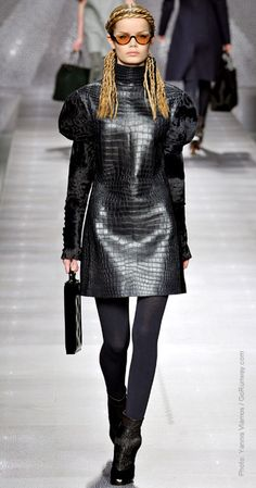 July 24, 2012: Fendi Fall 2012.    Loving the goth snakeskin look.  Those braids are intense!!